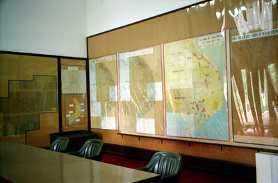 One of the control rooms in the Reunificaiton Palace.  From here the Americans and the South Vietnamese would plan military operations. ... August 11, 2004 ... Copyright Robert Page III