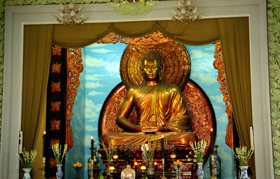 This is the inside of the Xa Loi Pagoda complex.  This complex is famous because during the Vietnam war simpathisers of the north congregated here and Diem led an attack on the complex.  This attack aided the American decision in allowing a coup to proceed against Diem. ... August 11, 2004 ... Copyright Robert Page III