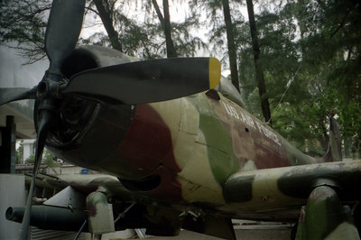An American warplane at the War Remnants Mueseum northwest of the Reunification Palace in Saigon.  The Mueseum is a sobering look at war and was originally called the Museum of American and Chinese War Crimes. ... August 11, 2004 ... Copyright Robert Page III