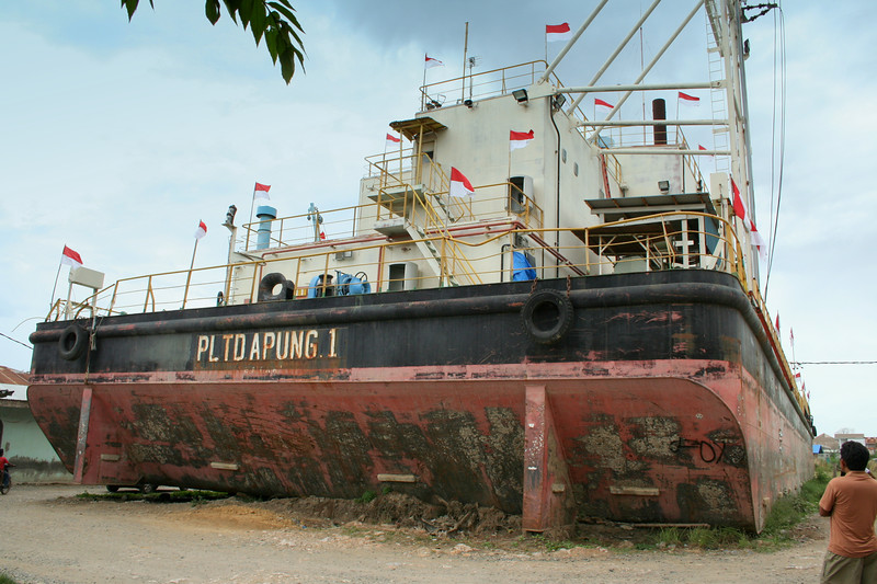 Another, HUGE ship in the middle of a village. We are about 10 miles from the ocean.