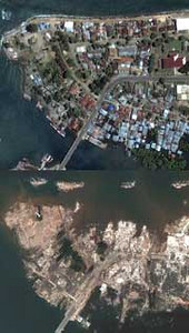 The top satellite image of Indonesia's Banda Aceh shore was made on June 23, 2004. The bottom image shows the same place on December 28, two days after the tsunami flattened the town and altered the shoreline. -DigitalGlobe