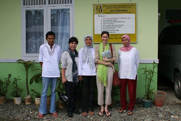 At a local NGOs clinic.  Nurse, Dr. Ester (IRD), midwife, Dawn, Doctor