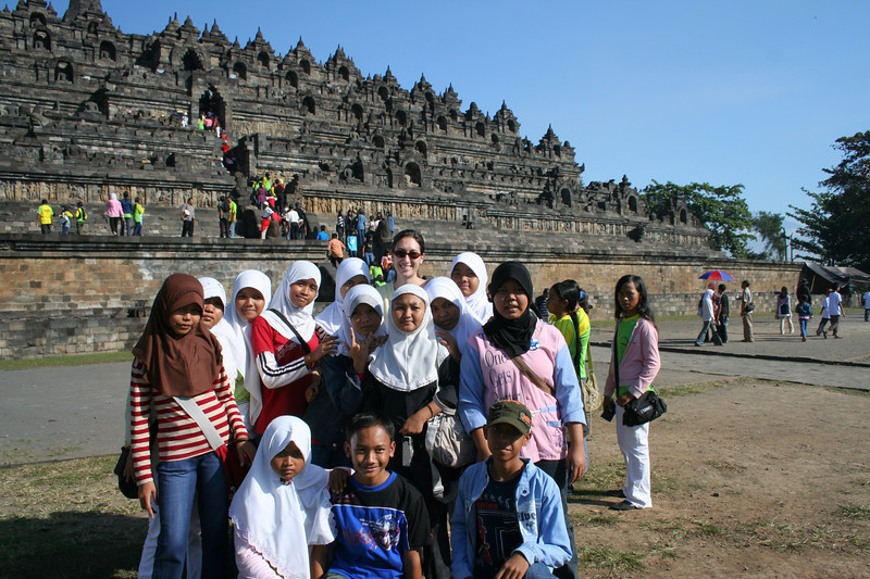 I was the tourist attraction for the Indonesian school kids.  They all wanted to practice thier english and take a photo with the foreigner.