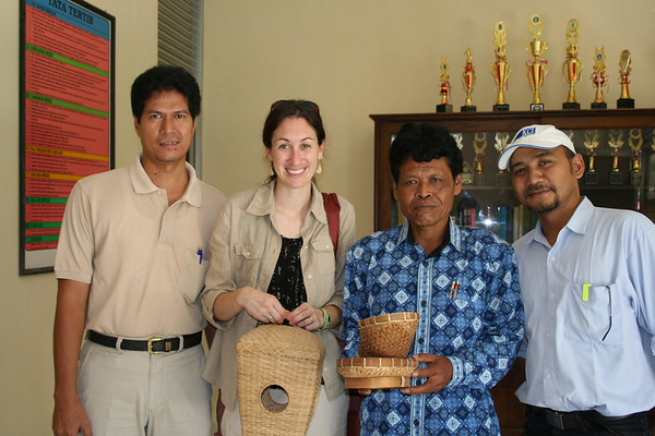 Sofyan (Director of IRD Yogya programs), Dawn, Headmaster of school, Irwin (IRD Engineer).  The headmaster gave me the baskets as gifts, they were made by the students.