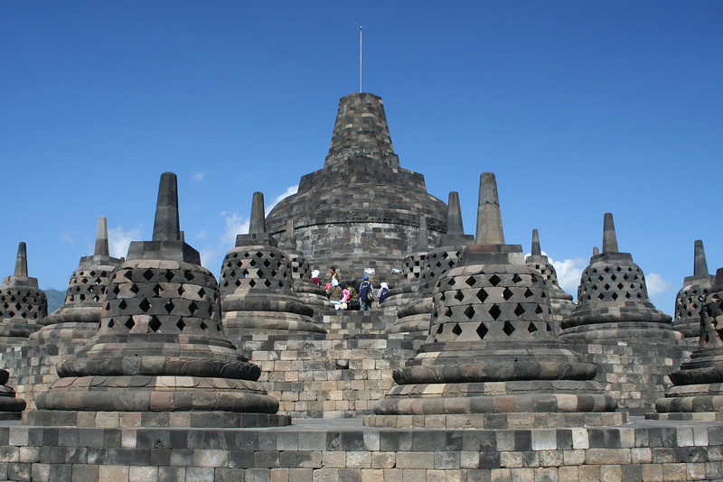 There is a budda statue inside each of the stupas (bell shaped things)