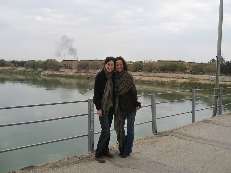 Sandra, my collegue from HQ, and myself in front of the Tigris.  The other side of the river is the edge of downtown Baghdad.