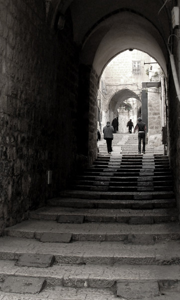 The Old City of Jerusalem is divided into 4 quarters:  The Muslim Quarter, The Jewish Quarter, The Christian Quarter, and The Armenian Quarter.   This is a road in the Muslim Quarter.