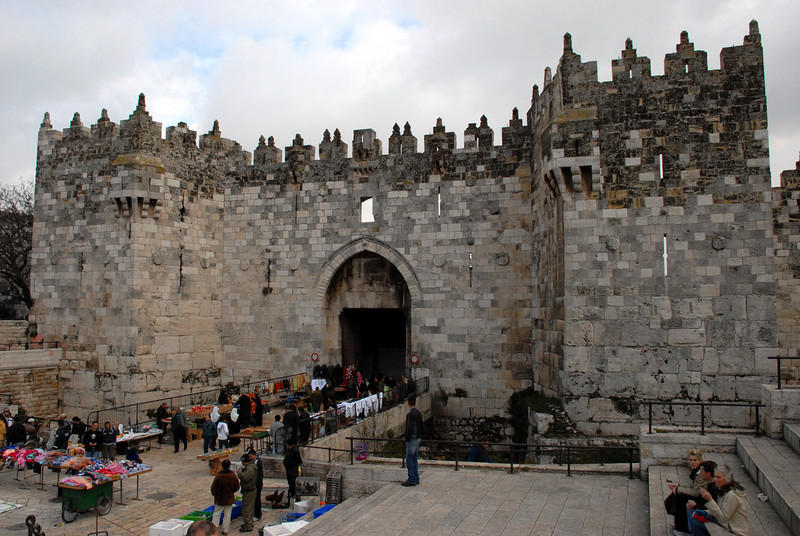 The Old City of Jerusalem is surrounded by ancient walls with 8 gates.  This is the Damascus Gate built during the Ottoman Empire.
