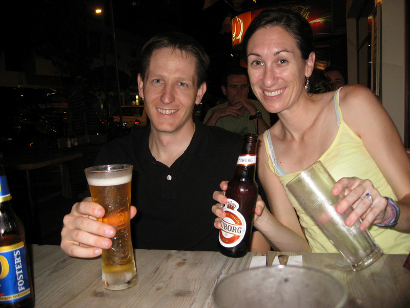 First night in Tel Aviv and we can have alcohol in public!