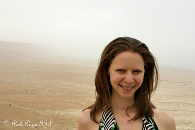 Emily on top of the Masada with the Judean Desert in the background - Masada National Park, Israel ... March 8, 2014 ... Photo by Rob Page III