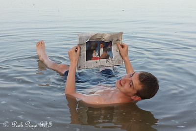 Enjoying the paper in the Dead Sea - Dead Sea, Israel ... March 8, 2014 ... Photo by Liora Bowers