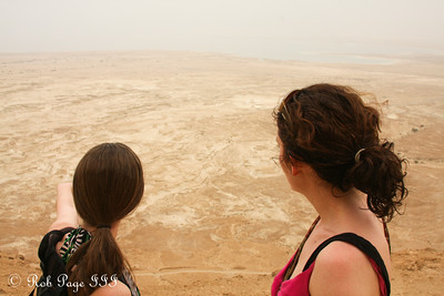 Emily and Liora looking out at the Judean Desert at the Masada - Masada National Park, Israel ... March 8, 2014 ... Photo by Rob Page III