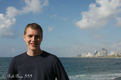 Rob with Tel Aviv in the background - Jaffa, Israel ... March 10, 2014 ... Photo by Emily Page