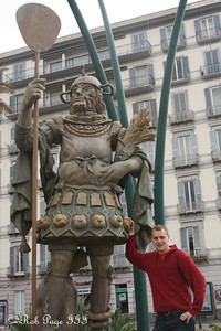 Rob with the statue to pasta - Naples, Italy ... May 25, 2013 ... Photo by Emily Page