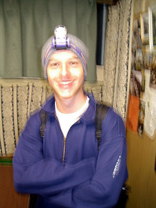 From Michael Ruprecht. Michael Ruprecht in the hut.  The Robert Page, Masashi Kato, and Michael Ruprecht Mt Fuji Expedition 2004.   July 6, 2004 Copyright Robert Page III