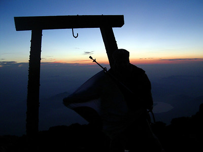From Michael Ruprecht. Michael at the summit of Mt. Fuji.  The Robert Page, Masashi Kato, and Michael Ruprecht Mt Fuji Expedition 2004.   July 7, 2004 Copyright Robert Page III