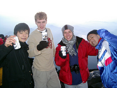 From Michael Ruprecht. Masashi Kato, Robert Page, Michael Ruprecht, and our buddy with beers at the summit.  The Robert Page, Masashi Kato, and Michael Ruprecht Mt Fuji Expedition 2004.   July 7, 2004 Copyright Robert Page III