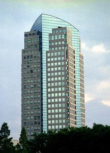 The Yokohama Ginko Building in Minato Mirai, Yokohama designed by Papa Kato's achitechtual firm...July 18, 2004...Copyright Robert Page III