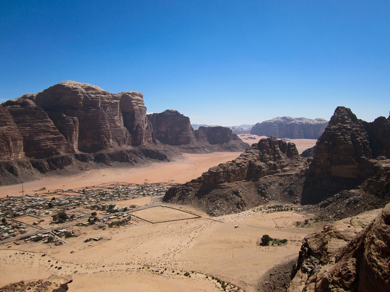 The top.  Overlooking Rum Village and the entrance to Wadi Rum.