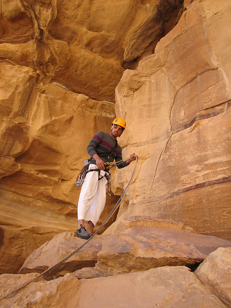 Mohammed our climb leader getting ready to lead climb. He is trad climbing, the only bolts present are at the belay points.