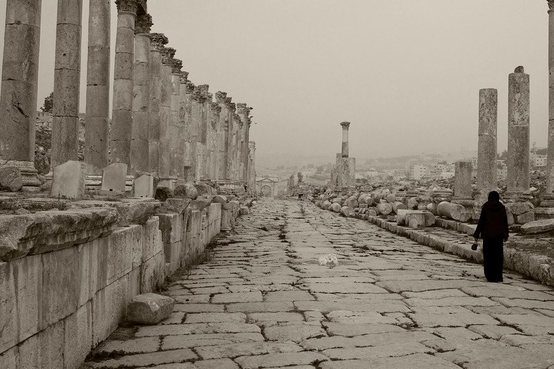 Roman chariots used to travel this route through Jerash.