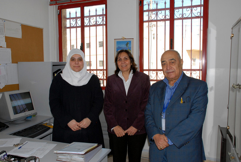 Noor Hussein Foundation (NHF) - Sabah and Muna (IRD Program Managers on right) with an NHF staff member.
