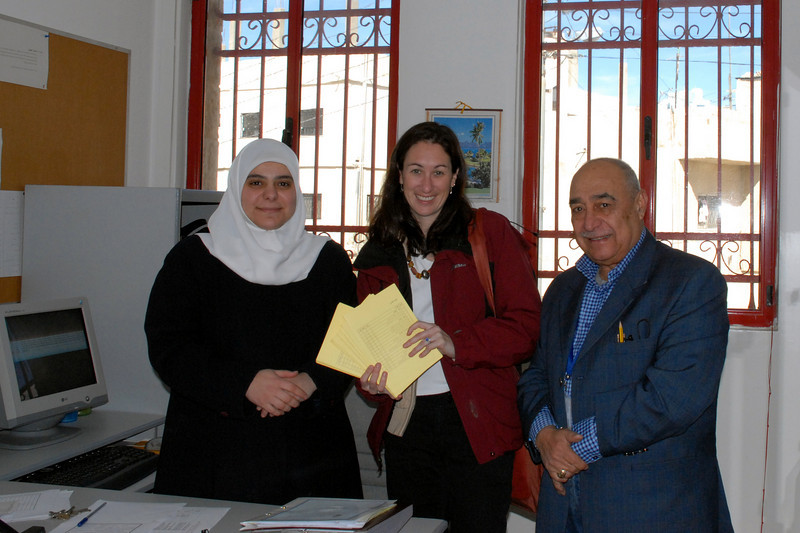 "Me with Sabah and NHF.  I'm holding the ""yellow cards"" our SHS information cards for Iraqi Refugees"