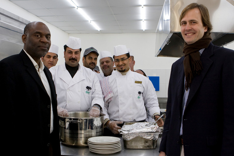 George Frederick, the Refugee Coordinator from the Department of State's Bureau of Population, Refugees and Migration (our donor), and Nick Stevens, IRD Jordan Country Director, with the cooking class