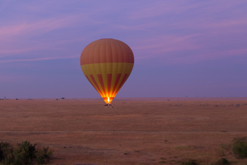Hot-air balloon ride over Masai Mara plains at dawn.