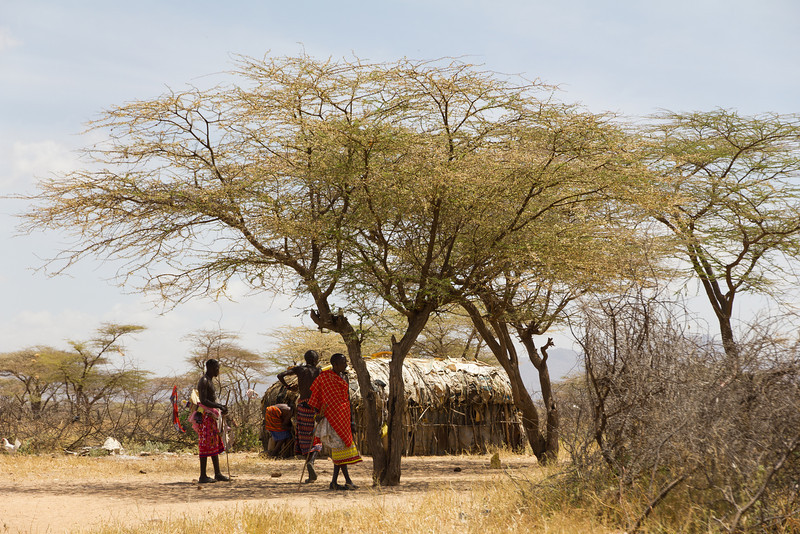 Maasai warriors in their Village inside Samburu National Reserve