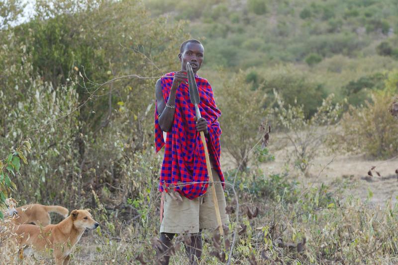 Maasai herder in the Masai Mara National Reserve - Kenya
