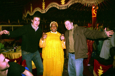 Pedro and Jordan dancing at Fantasia Chez Ali  - Marrakesh, Morocco ... March 7, 2005 ... Photo by Heather Page