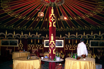 The dining room at Fantasia Chez Ali - Marrakesh, Morocco ... March 7, 2005 ... Photo by Heather Page
