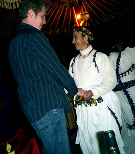 At Fantasia Chez Ali where there is much merriment.  This is a chance to see traditional dances and music and join in if you want - Marrakesh, Morocco ... March 7, 2005 ... Photo by Pedro Mendoza