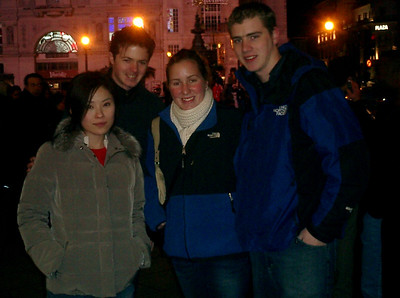 Yasuko, Yasuko's boyfriend, Heather, and Rob in Picadilly Circus - London, England ... March 4, 2005 ... Photo by Unknown