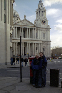 Heather and Rob in front of St. Pauls - London, England ... March 5, 2005 ... Photo by Unknown