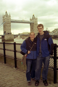 Heather and Rob in front of the Tower Bridge - London, England ... March 5, 2005 ... Photo by Unknown