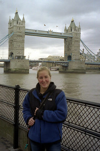 Heather enjoying the wonderful weather of London with the Tower Bridge in the background - London, England ... March 5, 2005 ... Photo by Rob Page III