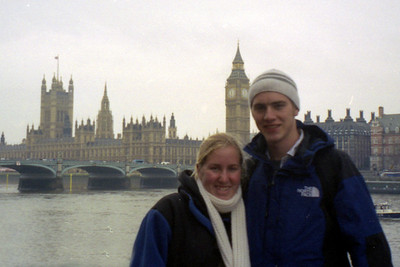 Big Ben and the House of Parliament rises behind Heather and myself.  It is nice to be here with my sister and friends this time - London, England ... March 4, 2005 ... Photo by Pedro Mendoza