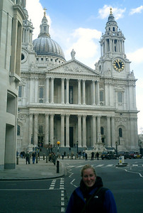 Heather with St. Pauls Cathedral - London, England ... March 5, 2005 ... Photo by Rob Page III