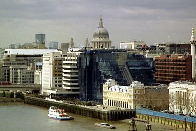 St. Paul's Cathedral from the top of the Tower Bridge - London, England ... March 5, 2005 ... Photo by Rob Page III