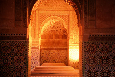 The Saadian Tombs.  The Saadians ruled over Morocco in the 16h century and this is their most splendid ruin - Marrakesh, Morocco ... March 7, 2005 ... Photo by Rob Page III