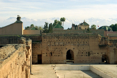 This is the El Badi Palace.  It was once one of the most beautiful palaces in the world.  Today it is known for its storks.  The Atlas Mountains can be seen rising in the background. - Marrakesh, Morocco ... March 7, 2005 ... Photo by Heather Page