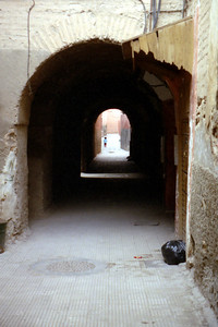 A side street off the main square.  One of the few places I found that was not bustling with life - Marrakesh, Morocco ... March 7, 2005 ... Photo by Rob Page III