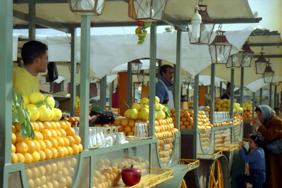 Enjoying the delicious orange juice - Marakesh, Morocco ... March 7, 2005 ... Photo by Rob Page III
