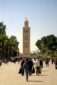 Koutoubia Minaret.  This minaret was constructed in 1182 and is 70 metres (230 ft) tall - Marrakesh, Morocco ... March 7, 2005 ... Photo by Rob Page III