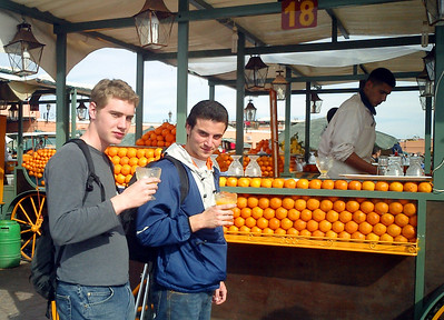 This is the best orange juice I have ever had.  There are stands all around the main square of J'ma-l-Fna (- Marrakesh, Morocco ... March 7, 2005 ... Photo by Heather Page