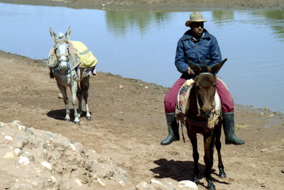 The donkey drivers greeted us at the water's edge - Aït Ben Haddou, Morocco ... March 8, 2005 ... Photo by Heather Page