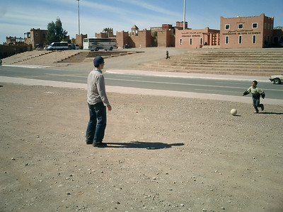 Playing soccer with the locals before we got yelled at by the police - Ouarzazate, Morocco ... March 8, 2005 ... Photo by Heather Page