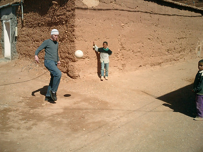Kicking the soccerball around with the locals - Aït Ben Haddou, Morocco ... March 8, 2005 ... Photo by Heather Page